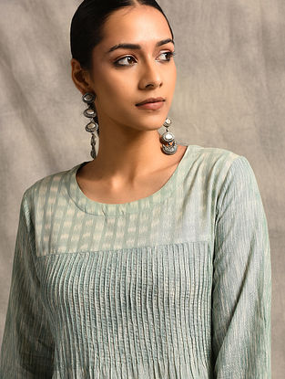 Green Handloom Ikat Cotton Kurta with Pintucks