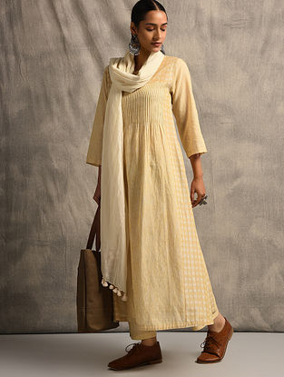 Yellow Handloom Ikat Cotton Kurta with Pintucks