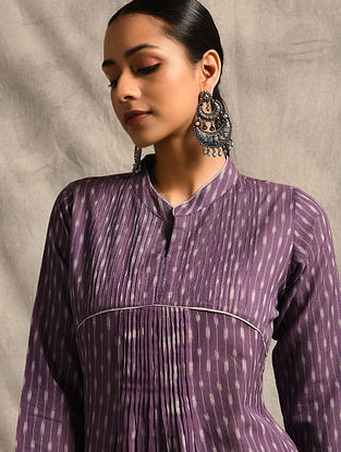 Purple Handloom Ikat Cotton Kurta with Pintucks