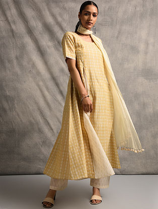 Yellow-Ivory Handloom Ikat Cotton Kurta