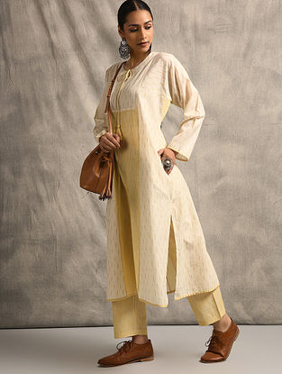 Ivory Handloom Ikat Cotton Kurta with Pockets