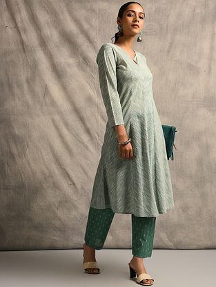 Green Handloom Ikat Cotton Kurta
