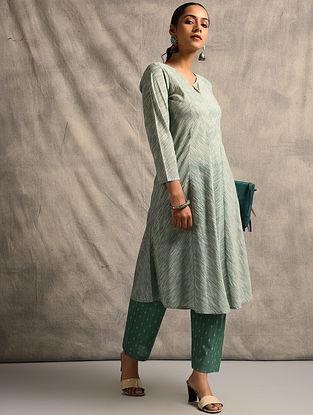 Green Handloom Ikat Cotton Kurta
