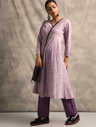 Purple Handloom Ikat Cotton Kurta