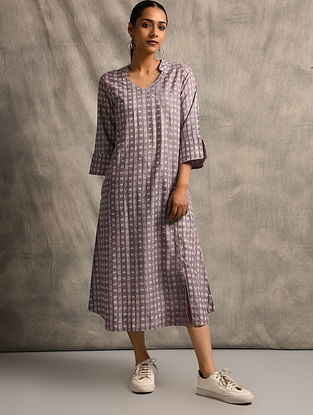 Purple Handloom Ikat Cotton Dress