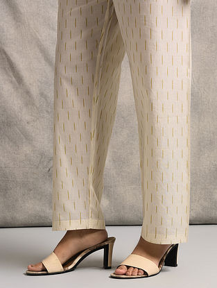 Ivory Tie-up Waist Handloom Ikat Cotton Pants