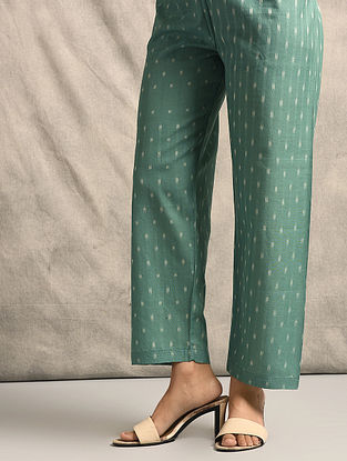 Green Tie-up Waist Handloom Ikat Cotton Pants
