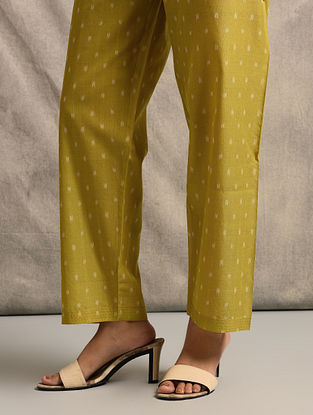 Yellow Tie-up Waist Handloom Ikat Cotton Pants