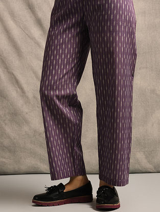 Purple Tie-up Waist Handloom Ikat Cotton Pants