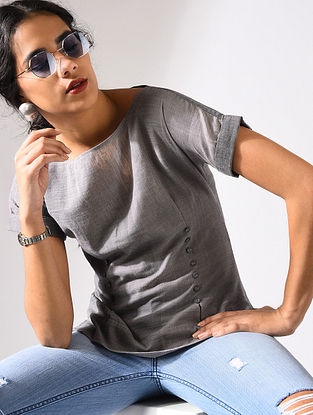 Grey Handloom Cotton Top