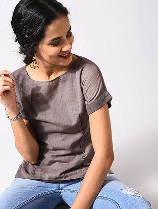 Brown Handloom Cotton Top