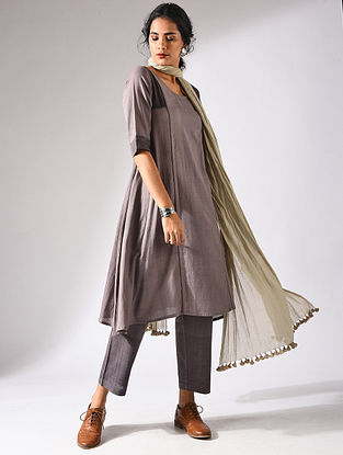 Brown Handloom Cotton Kurta