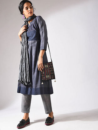 Blue Handloom Cotton Kurta with Pockets