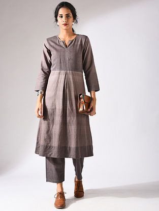 Brown Handloom Cotton Kurta with Pockets