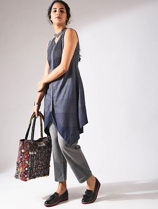 Blue Handloom Cotton Tunic with Pintucks