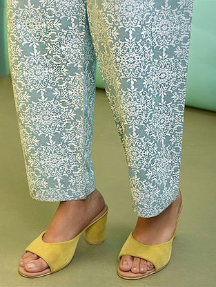 Green Tie-up Waist Printed Cotton Pants