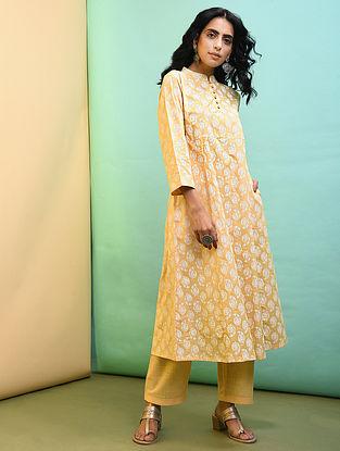 Yellow Printed Cotton Kurta