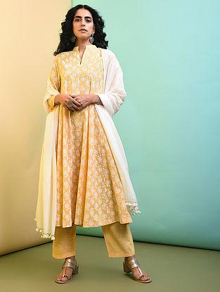 Yellow Printed Cotton Kalidar Kurta with Pockets