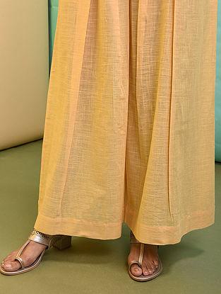 Yellow Elasticated-waist Cotton Palazzo