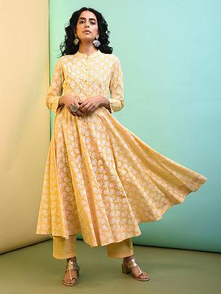 Yellow Flared Printed Cotton Kurta