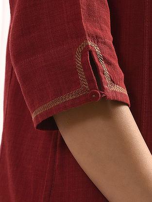 SURKH - Maroon Handloom Cotton Kurta with Embroidery