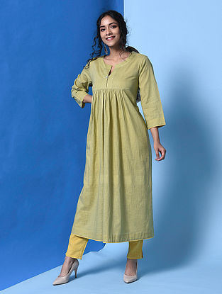 NAMRATA - Green Cotton Slub Kurta with Gathers