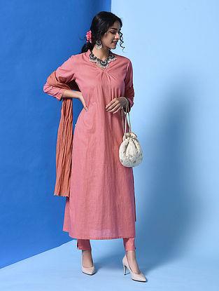 AANAVI - Pink Cotton Slub Kurta