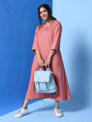 APURVA - Pink Cotton Slub Dress with Pockets