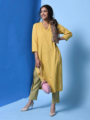 MAITHRA - Yellow Cotton Slub Kurta with Pockets