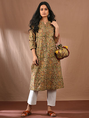 JOSYA - Multicolored Block Printed Kalamkari Cotton Kurta