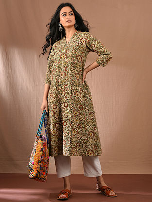 AMMU - Multicolored Block Printed Kalamkari Cotton Kurta