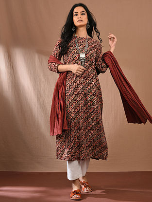 AITRI - Multicolored Block Printed Kalamkari Cotton Kurta