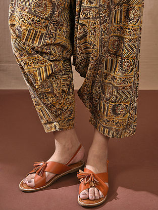 AMOGYA - Multicolored Tie-up Waist Block Printed Cotton Harem Pant