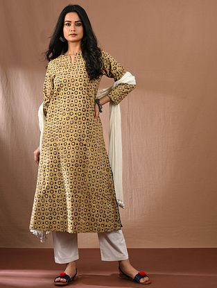 KHUSHI - Yellow Block Printed Kalamkari Cotton Kurta