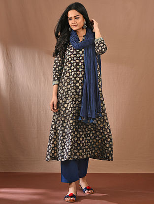 THOUSHIKA - Black Block Printed Kalamkari Cotton Kurta