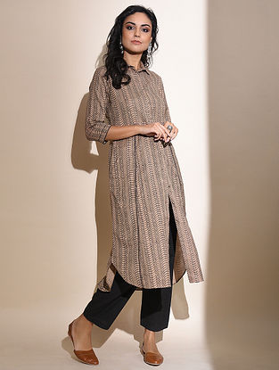 Aadisha -Beige Block Printed Cotton Kurta with Lace Detail