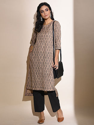 Kamini -Beige Block Printed Cotton Kurta with Lace Detail
