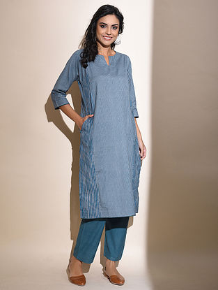 Remya -Blue Block Printed Cotton Kurta with Lace Detail