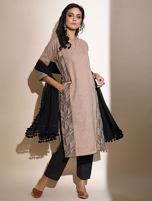 Tanushi -Beige Block Printed Cotton Kurta with Lace Detail