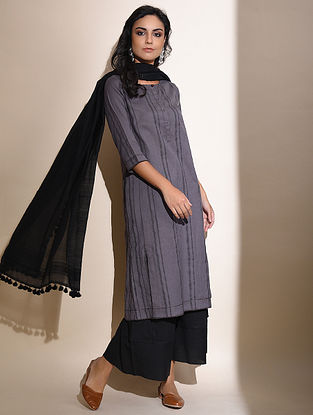 Ushna -Purple Block Printed Cotton Kurta with Lace Detail