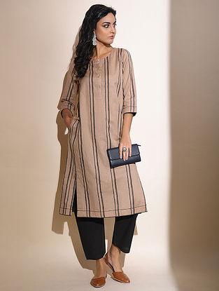 Nasya -Beige Block Printed Cotton Kurta with Lace Detail