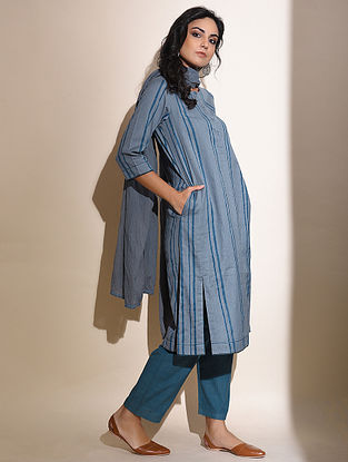 Sohini -Blue Block Printed Cotton Kurta with Lace Detail