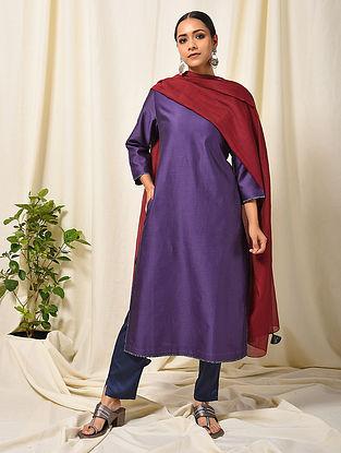 Purple Silk Cotton Kurta with Pocket