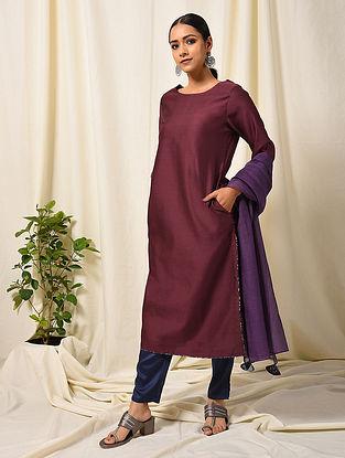 Maroon Silk Cotton Kurta with Pocket