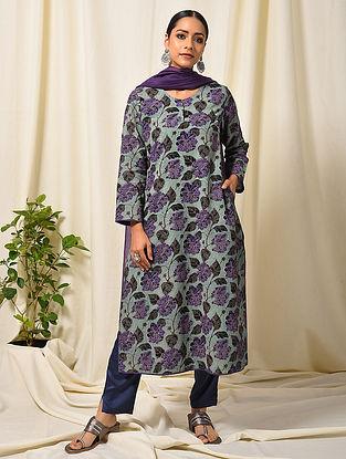 Black-Purple Block Printed Silk Cotton Kurta with Pocket
