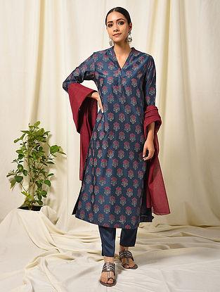 Blue-Maroon Block Printed Silk Cotton Kurta with Pocket