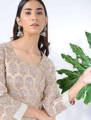 Beige Block-printed Cotton Kurta