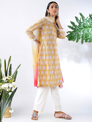 Yellow Block-printed Cotton Kurta