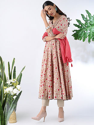 Beige-Red Block-printed Cotton Kalidar Kurta