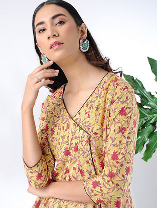 Yellow-Red Block-printed Cotton Kalidar Kurta